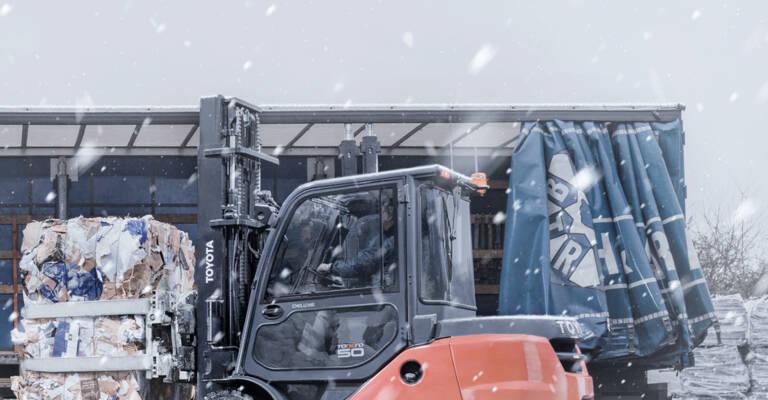 Toyota forklift truck in winter
