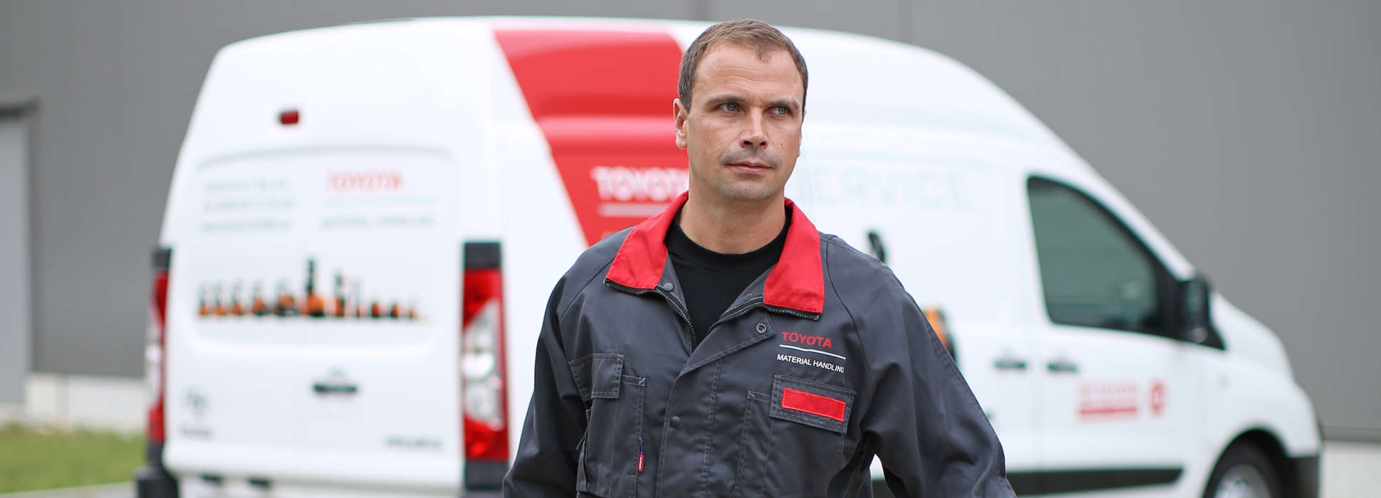 Service technician walking from service truck