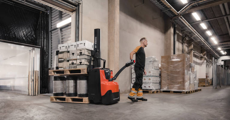 Powered stackers in warehouse