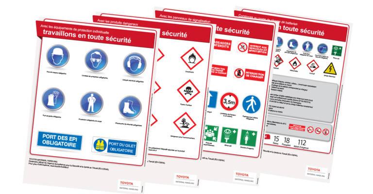 Posters pour rappeler les bonnes pratiques pour travailler dans un environnement de travail logistique sécurisé