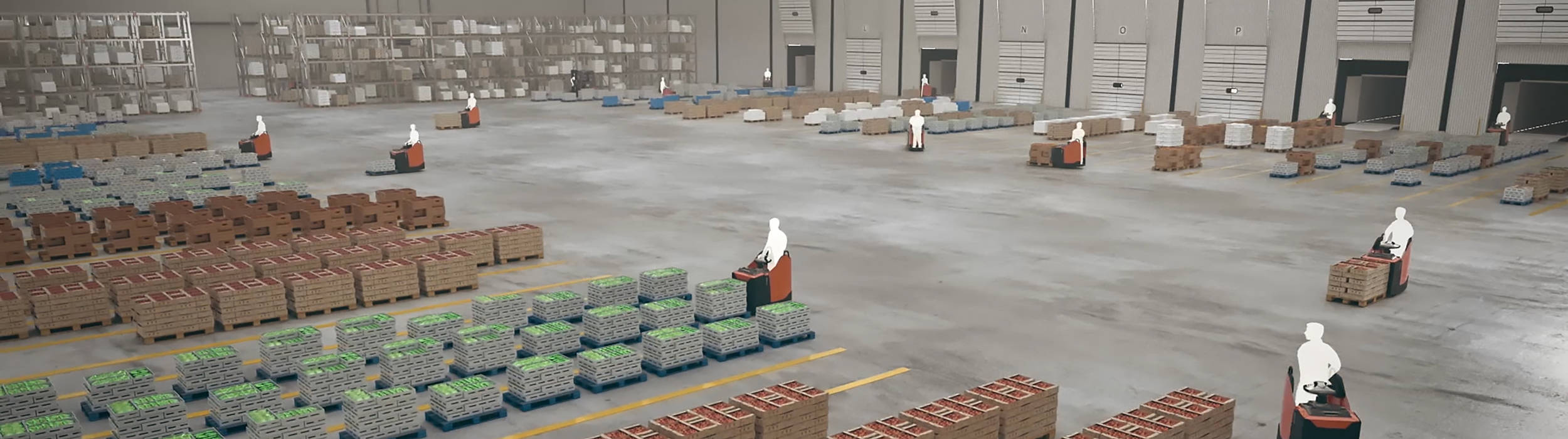 Overview of temperature controlled warehouse with truck operators working