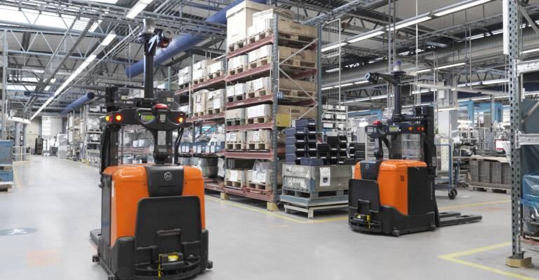 Automated trucks in Haldex's warehouse