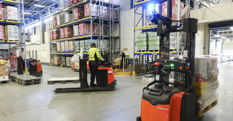 Automated stackers interact safely with forklift driver