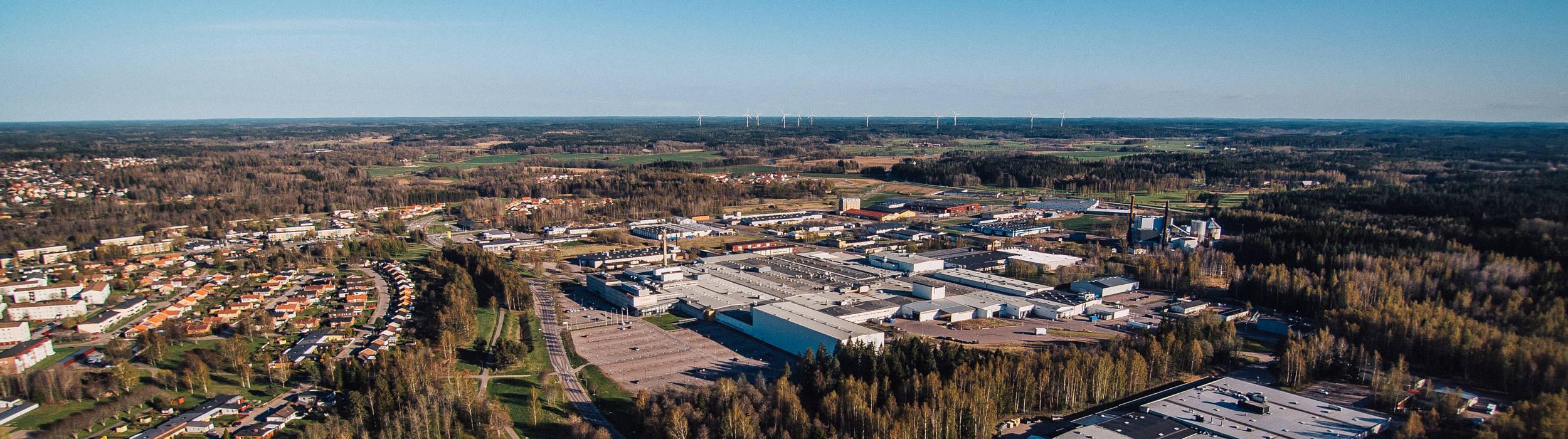 Aerial shot over Mjölby factory