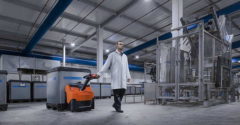 Powered pallet truck in industry