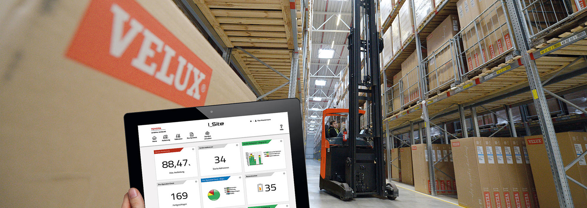 Worker using I_Site fleet management on a tablet, with reach truck in background