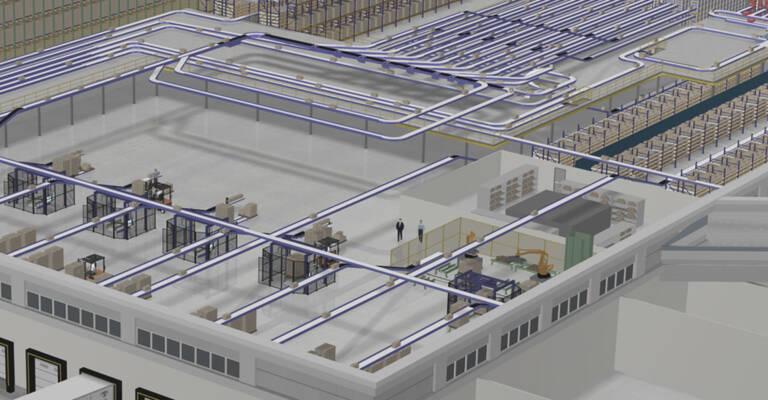 sistema de flujos de un almacén automatizado