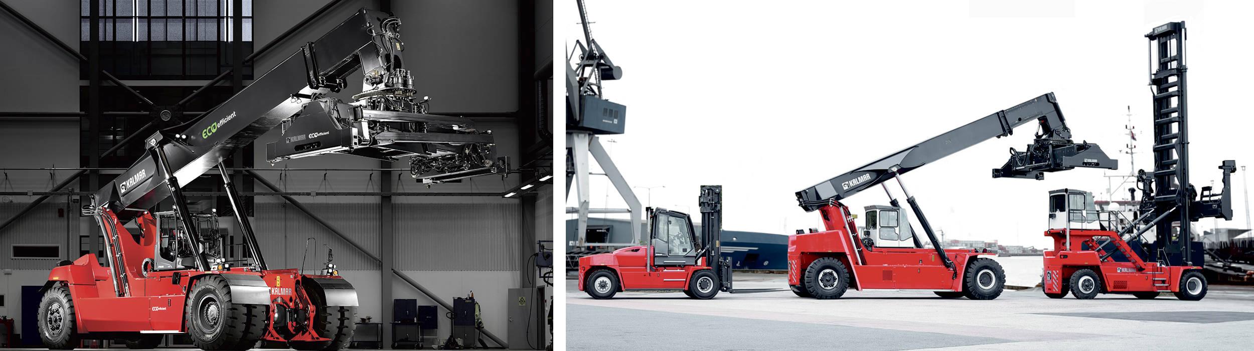 Kalmar truck og reachstacker, en stor gaffeltruck, terminaltrækker og containertruck