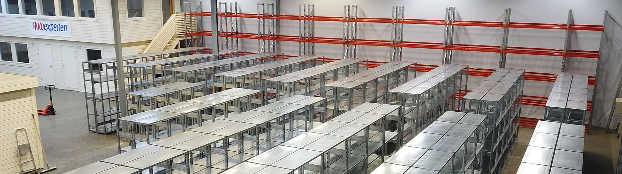 Custom shelving in warehouse