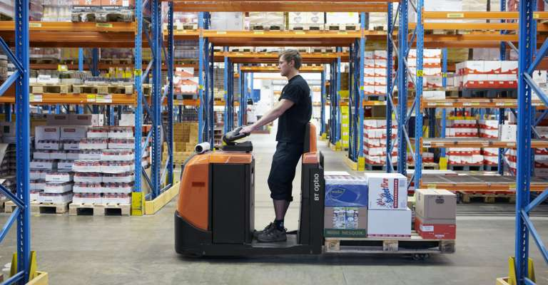Driver on a BT Option packing goods