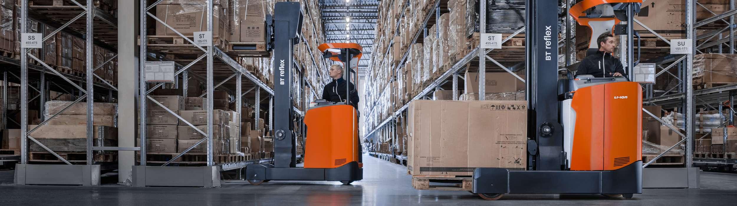 BT Reflex reach trucks used in warehousing