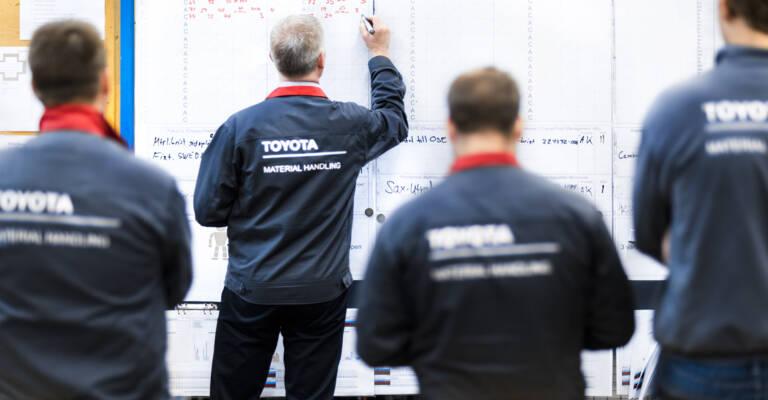 Personnel logistique qui suit une formation sur la méthode Lean avec Toyota
