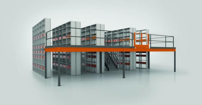 Heavy-duty shelving in warehouse