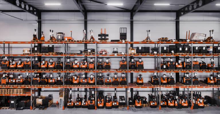 Warehouse fleet of trucks