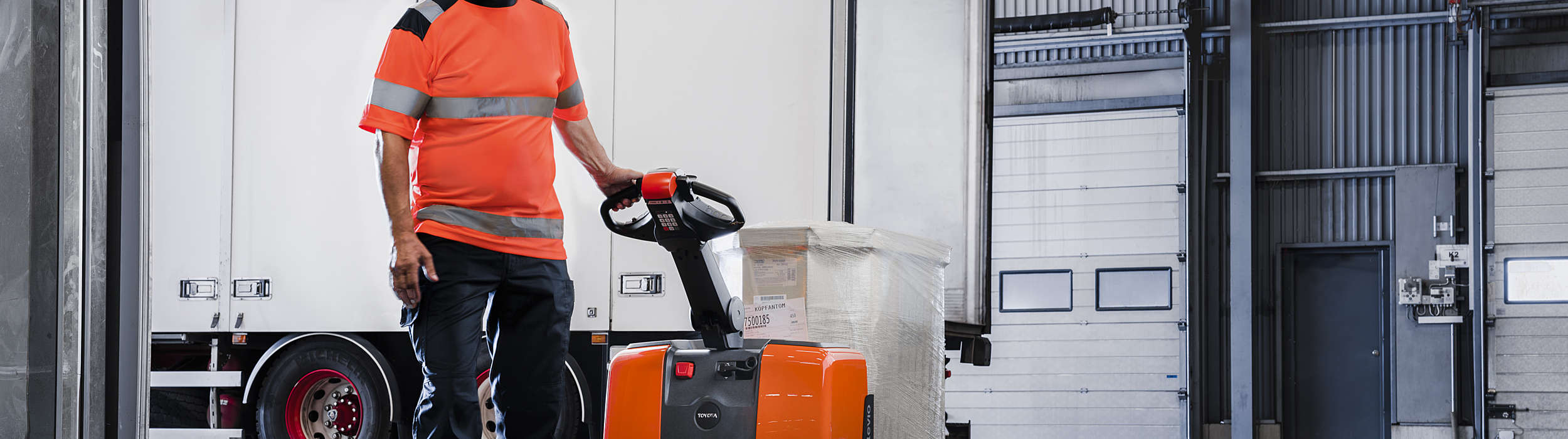BT levio powered pallet truck used in transport